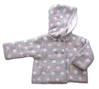 Baby Girls Pale Grey Spotty Knitted Pram Coat  Hooded Cardigan by Dizzy Daisy