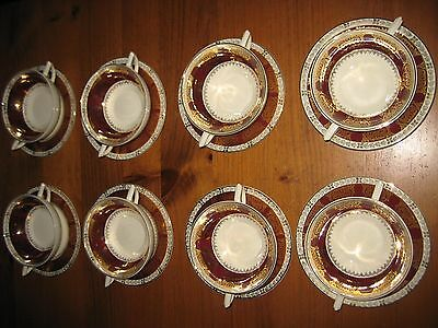 8 VINTAGE CROWN DUCAL TWO HANDLED CUPS OR SOUP BOWLS WITH SAUCERS C 1920's