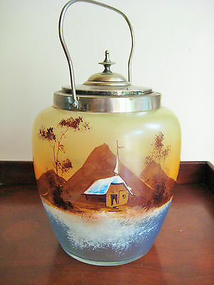 Antique Vintage Biscuit Barrel Jar Asian Landscape Hand Painted Glass