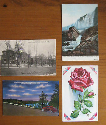 4  Vintage New York State Postcards Incl 1 Patriotic American Shields