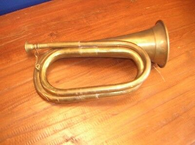 REDUCED Vintage Brass BUGLE Horn 11ins 28cms Military? Brass Band vgc Uncleaned