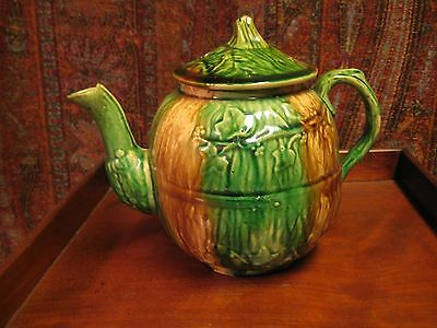 Antique Majolica Teapot Gourd Shape Leaves And Stem Finial Beautiful