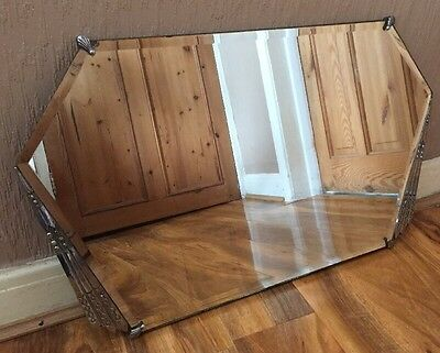 Stunning Art Deco Shaped Vintage Chrome Detailed Bevelled Edged Wall Mirror