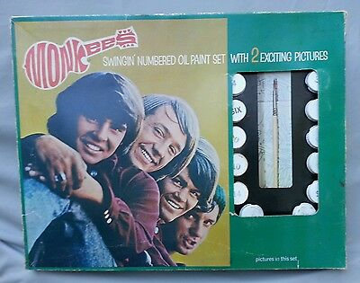 Monkees Swingin' Numbered Oil Paint Set Paint by Numbers Set 1967 RARE ! +EXTRAS