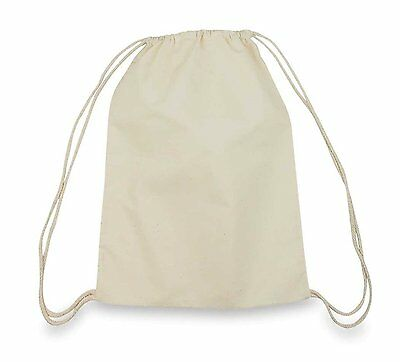 5 - 50 Packs 100% Cotton Natural Drawstring Bags Tote Gym Eco-Friendly Bag Cord