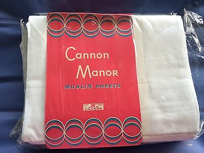 "CANNON MANOR PR. 81"" SHEETS vintage MUSLIN cotton sheet  NWT NU GREAT GRAPHICS"