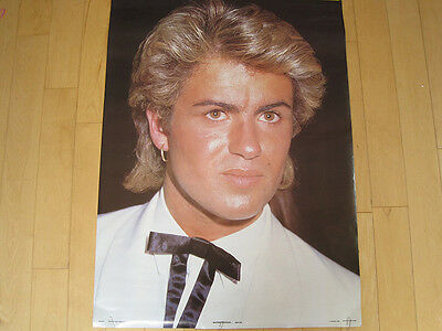 ORIGINAL!! 1985 vtg GEORGE MICHAEL wham! POSTER promo ART pop music FACE 80s NOS