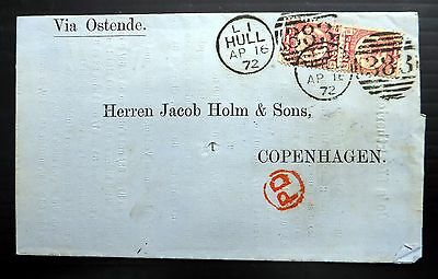 GB 1872 - ½d Plate 9, 2 Used on Cover to Copenhagen NB969