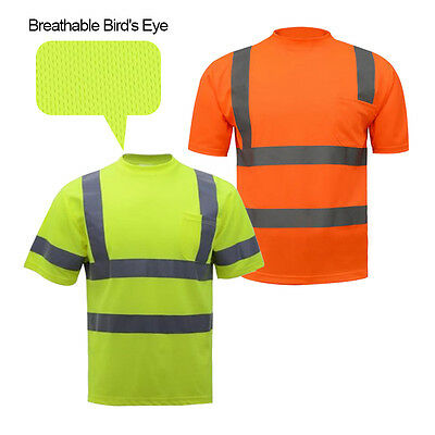 Reflective T-Shirt Safety Work Short Sleeve Security Mens Uniforms Round Collar