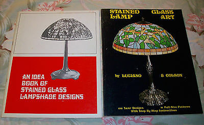 Stained Glass Lamp Art Luciano & Colson 1976 & Lampshade Idea Books Hepburn 1972