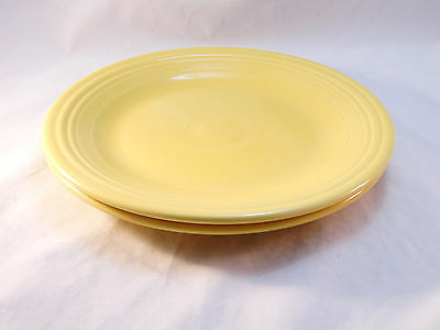 "Fiestaware Vintage Dinner Plates 10.5"" ~Two Homer Laughlin Yellow !"