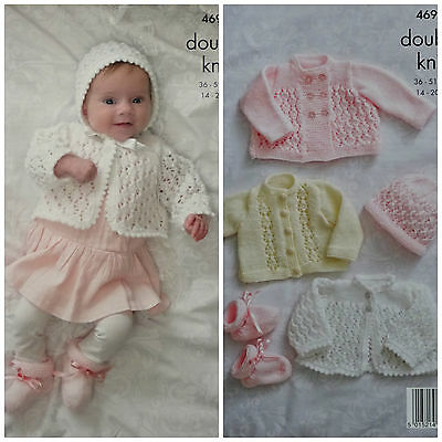 KNITTING PATTERN Baby's Lacy Cardigan Coat Bootees & Bonnet DK KIng Cole 4690