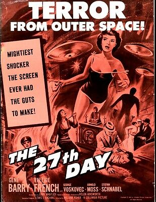 THE 27TH DAY pressbook, Gene Berry, Valerie French, Arnold Moss SCIENCE FICTION