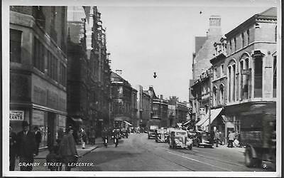Leicester - Granby Street, old cars - real photo postcard c.1940s