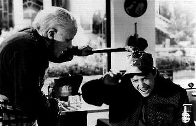 Back To The Future II Old Biff Hitting Marty on the Head with Fist Cane High Qua