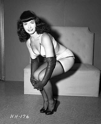 Bettie Page Bending in Lingerie High Quality Photo