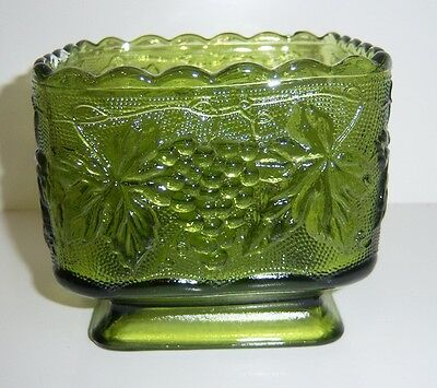 Carnival Glass Grape & Cable Green Candy Dish or Square Bowl