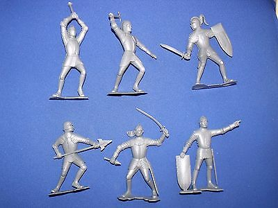 """Marx Medieval Knights Recast Silver 6"""" Six Different Positions, Detailed Figures"""