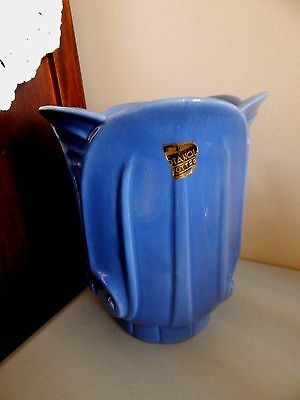 "STANGL Capital Vase Blue Glaze Vase #2066 - 8"" Orig Label 1936 Only"
