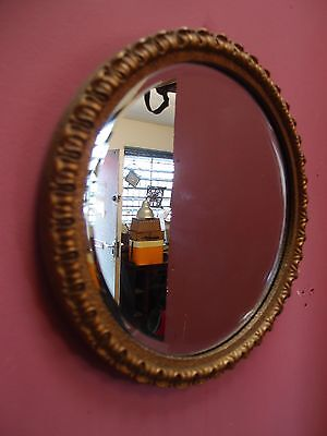 Small Antique French Gilded Framed Circular Bevelled Glass Mirror Picture Frame