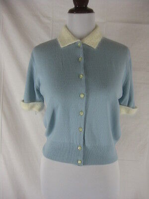 Vtg 40s 50s Blue Womens Vintage Angora Blend Pin Up Button Down Sweater