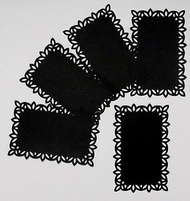 "BLACK CARD TOPPERS X 5 – FOR 6"" x 4"" CARDS – STUNNING & CLASSIC"