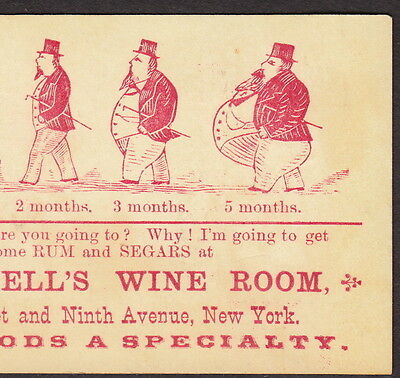 New York 1800's McDowells Wine Room Saloon Advertising Before & After Fat Card