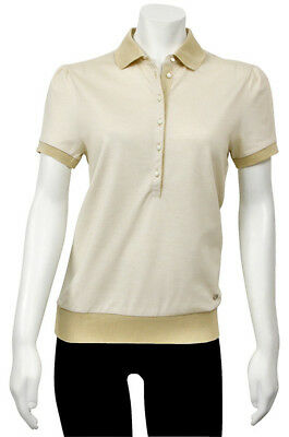 Salvatore Ferragamo Beige Button Up Polo Shirt 11-8546BG Small