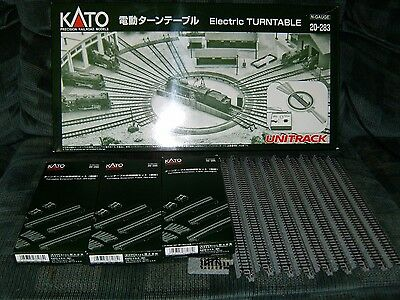 """N Kato Electric Turntable #20-283+ (3) Straight Extension sets+ (9)10"""" Unitrack"""