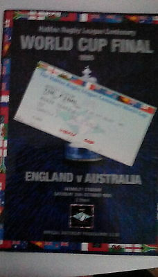 RUGBY LEAGUE WORLD CUP FINAL 1995 England v Australia + TICKET