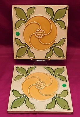 "2 Antique Tiles Stylized Flower Leaves 6"" Square Yellow - Green 502A Vintage"