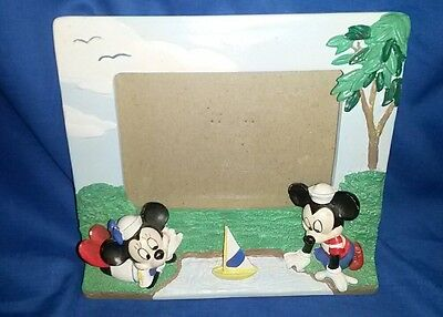 Vintage Disney Sailor Mickey & Minnie Mouse Resin Photo/Picture Frame Sail Boat