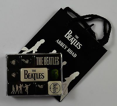 Collectable Cased Set 9 BEATLES Fridge Magnets Iconic/Classic Designs + Gift Bag