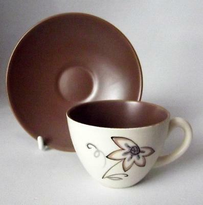 Poole Pottery Streamline Shape Trudiana D-W Pattern Coffee Cup and Saucer