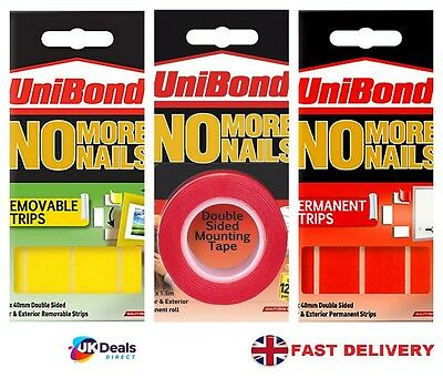 Unibond No More Nails Double Sided Mounting Tape Roll Adhesive RED PERMANENT