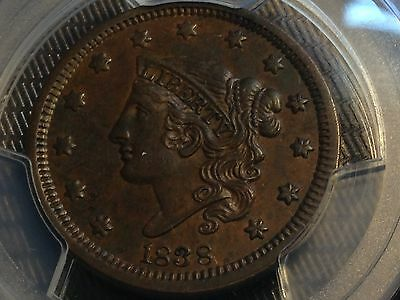 1838 Large Cent PCGS AU55 Medium Brown Great Surfaces Scratch-Free Holder CHN!