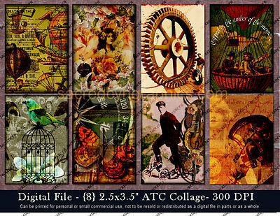 Steampunk Collage ATC ACEO Vintage Victorian Printable Digital Scrapbooking