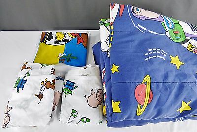 Disney Vintage Toy Story Twin Flat & Fitted Sheet Comforter Set Buzz Woody *FLAW