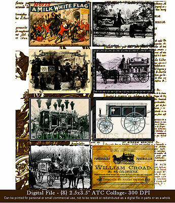 Vintage Hearse ATC ACEO Ephemera Victorian Stagecoach Scrapbooking Gothic Print