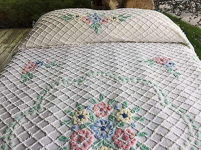 FLORAL CABIN CRAFT pink flowers MINT GREEN  VINT CHENILLE BEDSPREAD 94x104