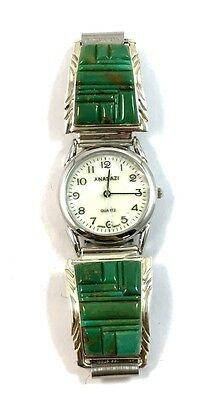 Large Native American Sterling Silver Turquoise Cobblestone Watch Tips