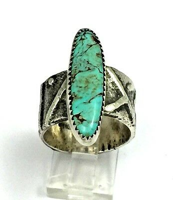Southwestern Sterling Silver Tufa Cast Turquoise Ring