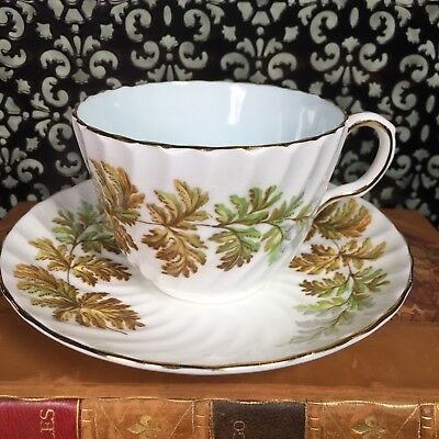 Antique Aynsley Tea Cup and Saucer Set Swirl Spiral Fern Baby Blue Turquoise