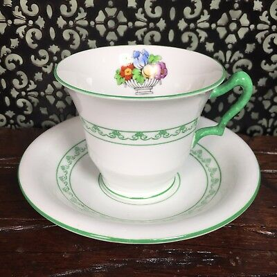 Antique Vintage Crown Staffordshire Art Deco Green Tea Cup Teacup And Saucer Set