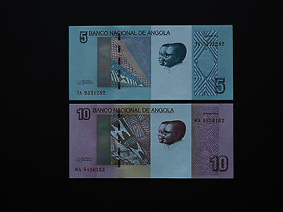 Angola Banknotes  5 And 10 Kwanzas Set - Newly Released From 2012   Mint Unc