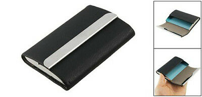 GIFTS FOR MEN Black Leather & Steel Magnetic Business Card Holder Office Case