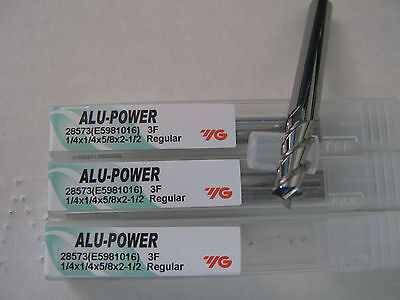 "3 PCS 1/4""x5/8"" LOCx2 1/2""OAL YG-1 ALU-POWER 3 Flute Carbide End Mill ALUM ""NEW"""