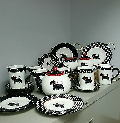 "21 Pc Mesa ""scottie Dog"" ""scottish Terrier"" Tea Pot,mugs, Plates,sugar Creamer"