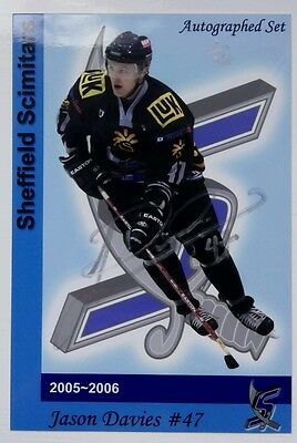 Auto'd JASON DAVIES 05-06 Sheffield Scimitars 1/10 University of Western Ontario