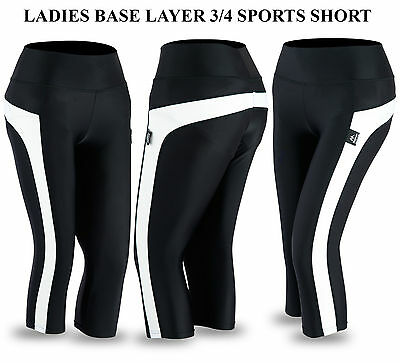 Ladies Active wear Gym Fitness Sports Bottom Running 3/4 Base Layer Shorts